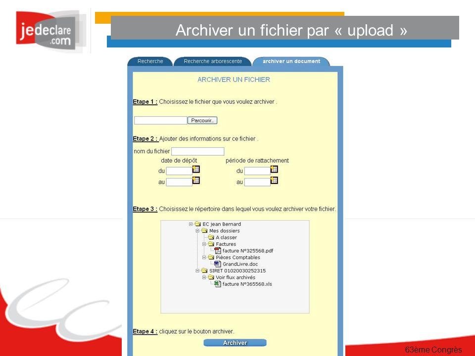 63ème Congrès Archiver un fichier par « upload »