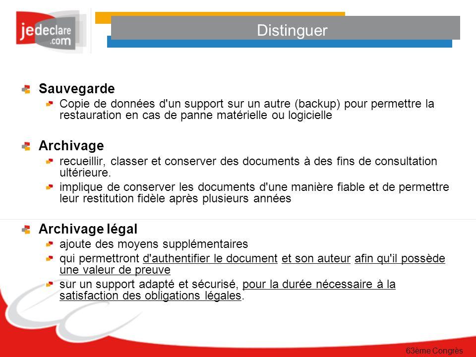 63ème Congrès Distinguer Sauvegarde Copie de données d'un support sur un autre (backup) pour permettre la restauration en cas de panne matérielle ou l