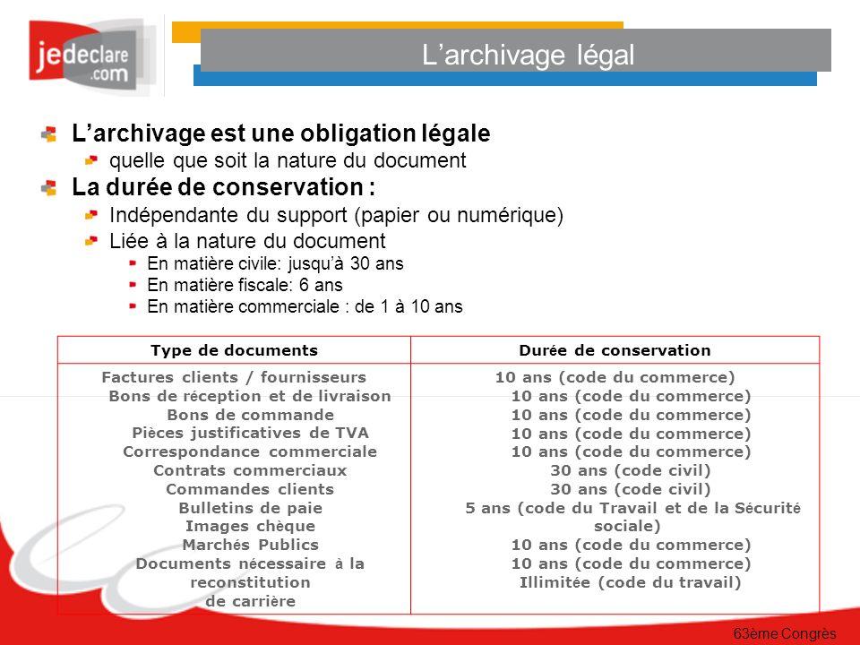 63ème Congrès De la preuve papier à la preuve électronique Loi du 13 mars 2000 (modifiant le code civil), un document électronique signé a la même valeur légale.
