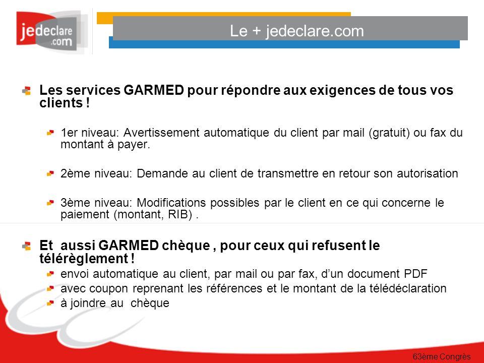 63ème Congrès Le + jedeclare.com Les services GARMED pour répondre aux exigences de tous vos clients .