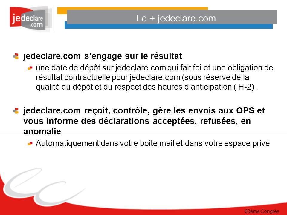 Le + jedeclare.com jedeclare.com sengage sur le résultat une date de dépôt sur jedeclare.com qui fait foi et une obligation de résultat contractuelle pour jedeclare.com (sous réserve de la qualité du dépôt et du respect des heures danticipation ( H-2).