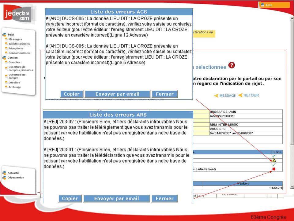 63ème Congrès Le suivi en ligne Détail des anomalies