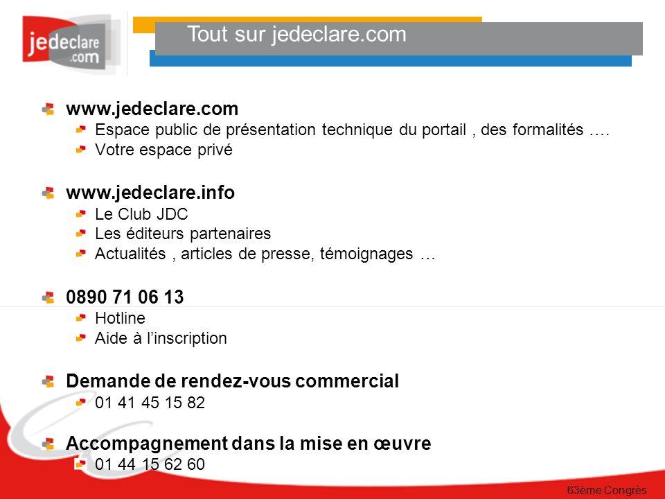 63ème Congrès Tout sur jedeclare.com www.jedeclare.com Espace public de présentation technique du portail, des formalités ….