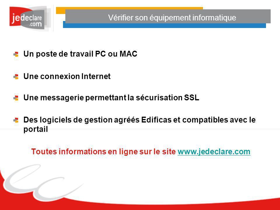 Vérifier son équipement informatique Un poste de travail PC ou MAC Une connexion Internet Une messagerie permettant la sécurisation SSL Des logiciels