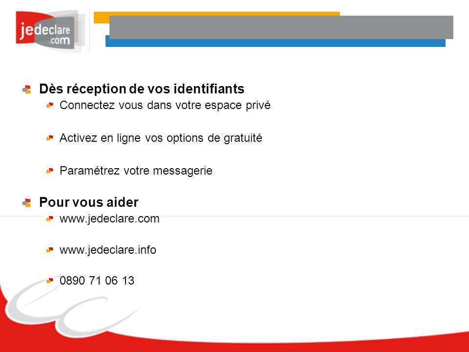 Dès réception de vos identifiants Connectez vous dans votre espace privé Activez en ligne vos options de gratuité Paramétrez votre messagerie Pour vou