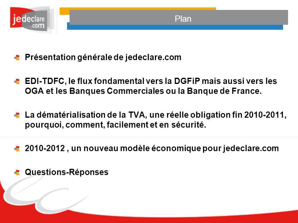 Plan Présentation générale de jedeclare.com EDI-TDFC, le flux fondamental vers la DGFiP mais aussi vers les OGA et les Banques Commerciales ou la Banq