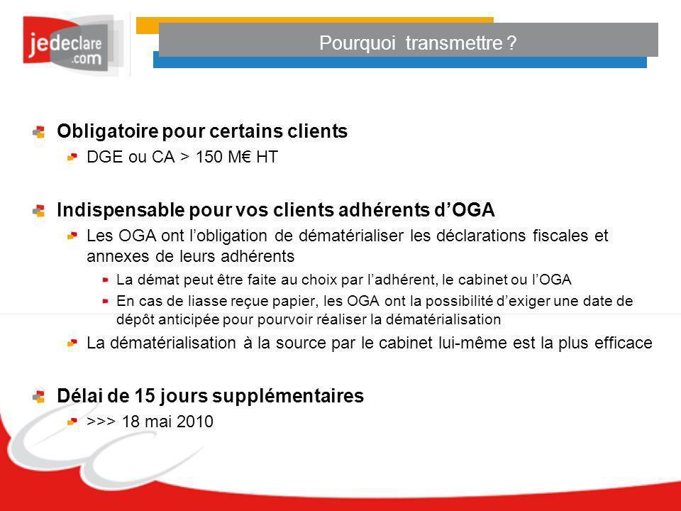 Pourquoi transmettre ? Obligatoire pour certains clients DGE ou CA > 150 M HT Indispensable pour vos clients adhérents dOGA Les OGA ont lobligation de