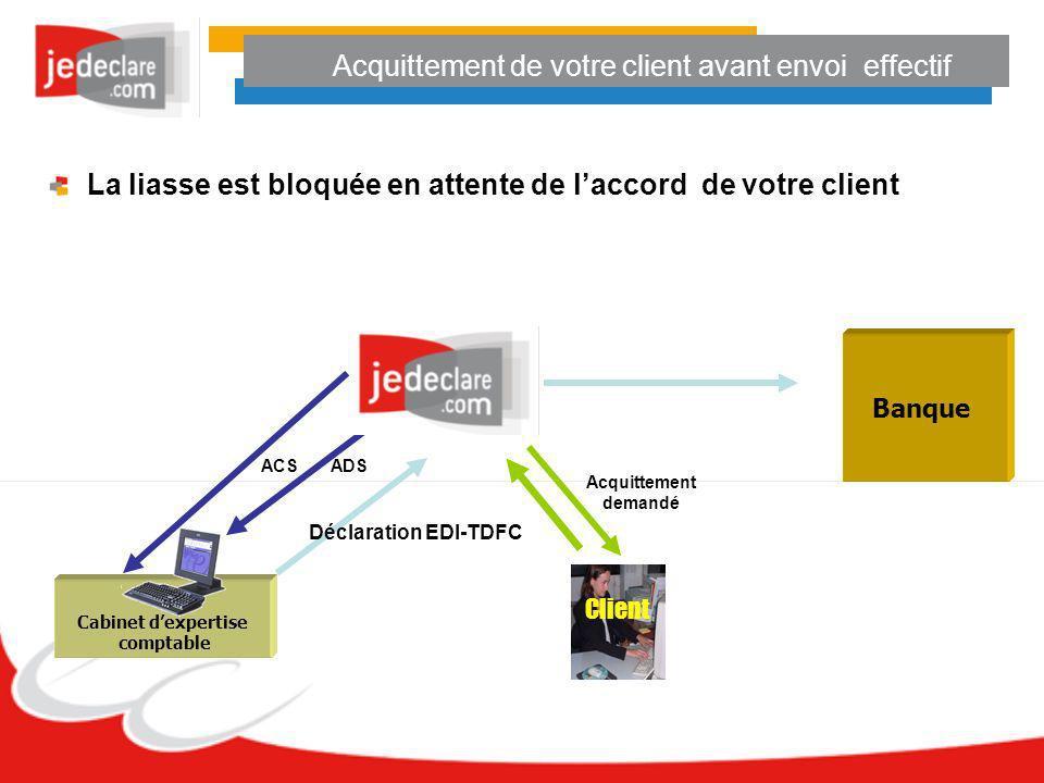 Cabinet dexpertise comptable Déclaration EDI-TDFC ADS ACS Banque Client Acquittement demandé La liasse est bloquée en attente de laccord de votre clie