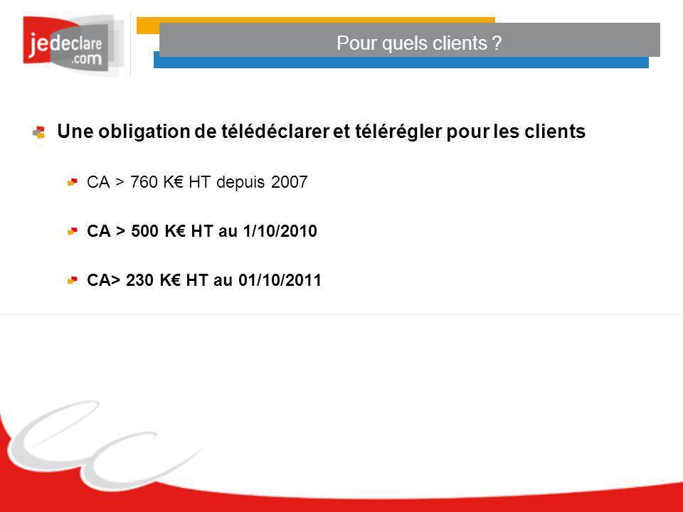 Pour quels clients ? Une obligation de télédéclarer et télérégler pour les clients CA > 760 K HT depuis 2007 CA > 500 K HT au 1/10/2010 CA> 230 K HT a