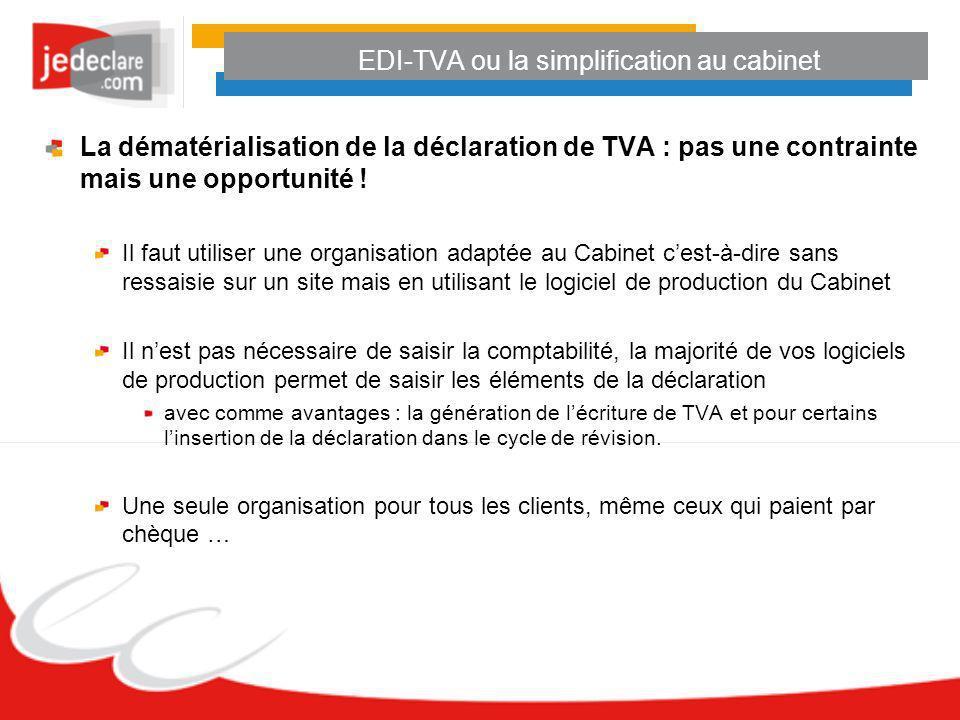 EDI-TVA ou la simplification au cabinet La dématérialisation de la déclaration de TVA : pas une contrainte mais une opportunité ! Il faut utiliser une