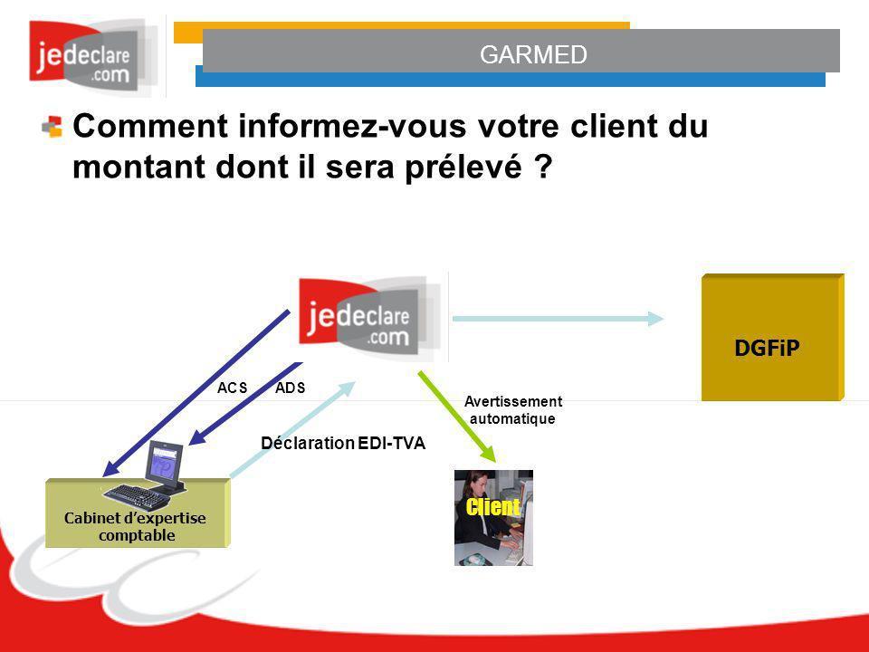 GARMED Cabinet dexpertise comptable Déclaration EDI-TVA ADS ACS DGFiP Client Avertissement automatique Comment informez-vous votre client du montant d