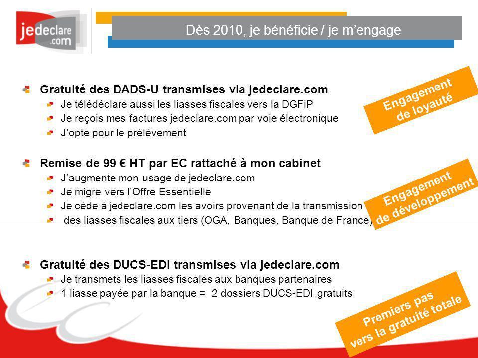 Dès 2010, je bénéficie / je mengage Gratuité des DADS-U transmises via jedeclare.com Je télédéclare aussi les liasses fiscales vers la DGFiP Je reçois