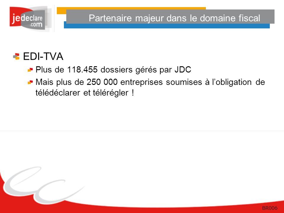 BR006 Partenaire majeur dans le domaine fiscal EDI-TVA Plus de 118.455 dossiers gérés par JDC Mais plus de 250 000 entreprises soumises à lobligation