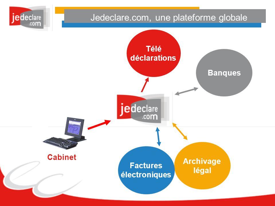Jedeclare.com, une plateforme globale Cabinet Télé déclarations Banques Archivage légal Factures électroniques