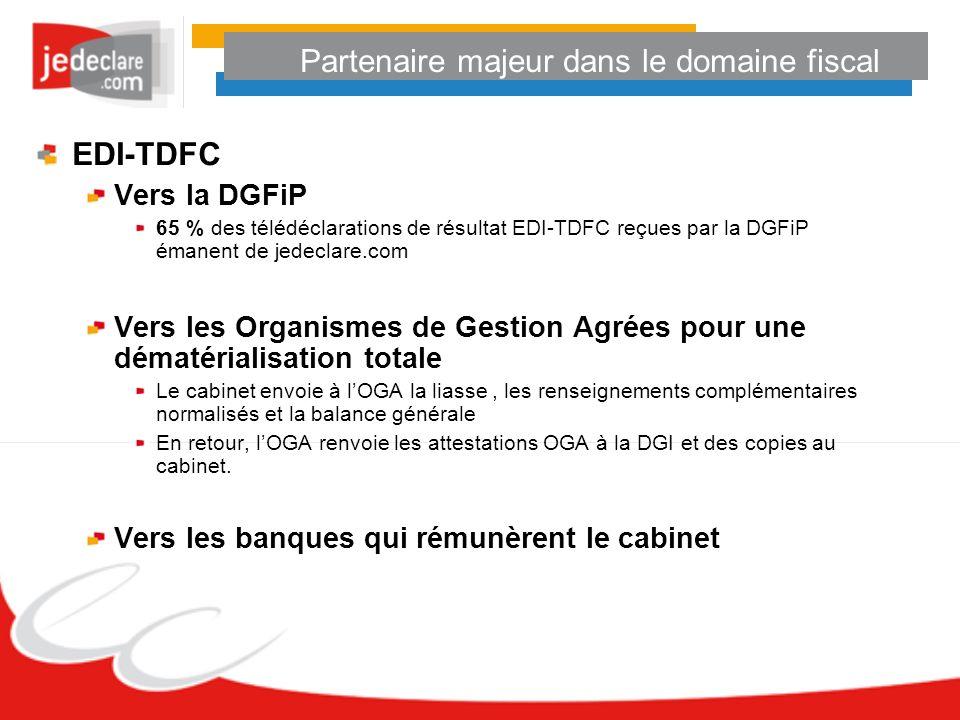 Partenaire majeur dans le domaine fiscal EDI-TDFC Vers la DGFiP 65 % des télédéclarations de résultat EDI-TDFC reçues par la DGFiP émanent de jedeclar