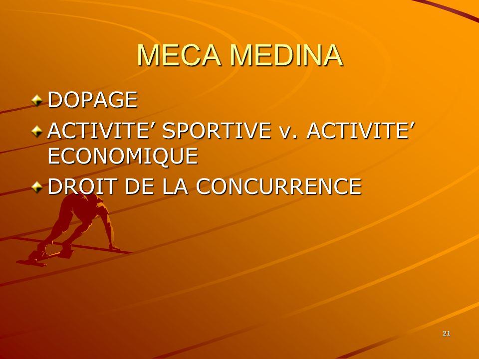 21 MECA MEDINA DOPAGE ACTIVITE SPORTIVE v. ACTIVITE ECONOMIQUE DROIT DE LA CONCURRENCE