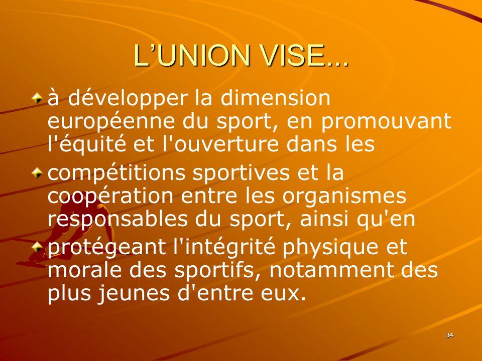 34 LUNION VISE... à développer la dimension européenne du sport, en promouvant l'équité et l'ouverture dans les compétitions sportives et la coopérati