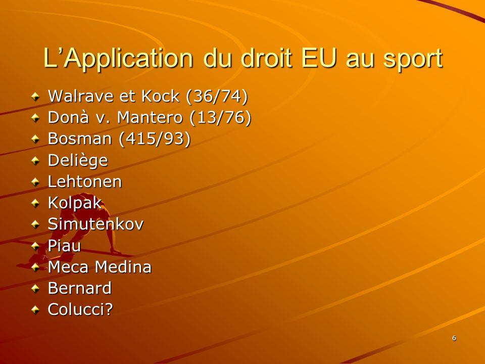 6 LApplication du droit EU au sport Walrave et Kock (36/74) Donà v. Mantero (13/76) Bosman (415/93) DeliègeLehtonenKolpakSimutenkovPiau Meca Medina Be