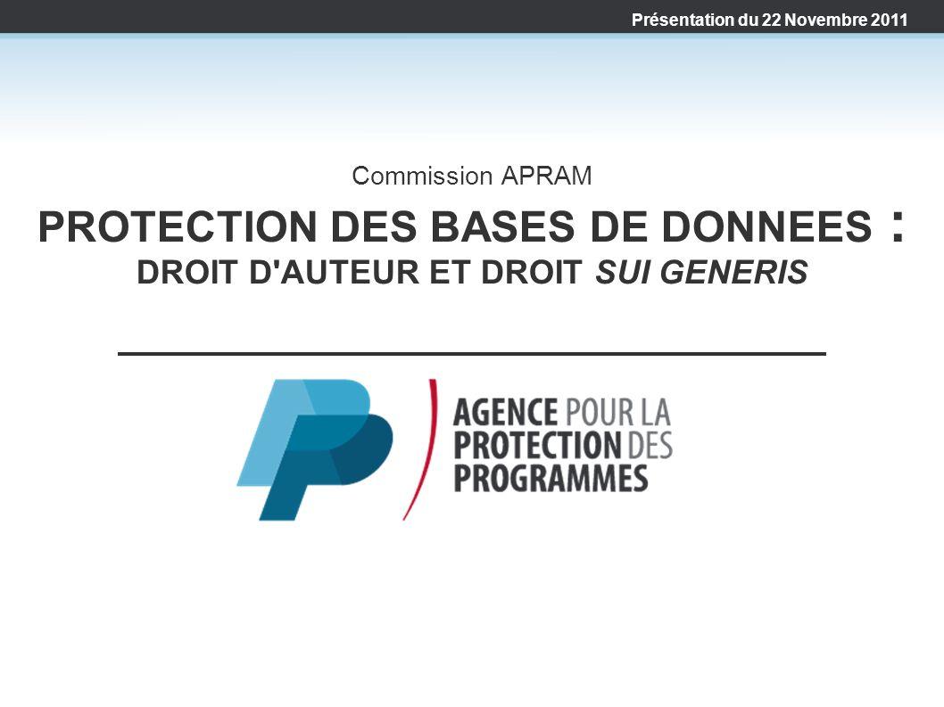 Commission APRAM PROTECTION DES BASES DE DONNEES : DROIT D'AUTEUR ET DROIT SUI GENERIS Présentation du 22 Novembre 2011