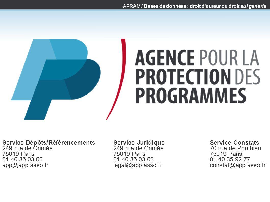 APRAM / Bases de données : droit d'auteur ou droit sui generis Service Dépôts/Référencements 249 rue de Crimée 75019 Paris 01.40.35.03.03 app@app.asso