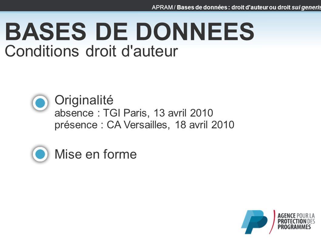 APRAM / Bases de données : droit d'auteur ou droit sui generis BASES DE DONNEES Conditions droit d'auteur Originalité absence : TGI Paris, 13 avril 20