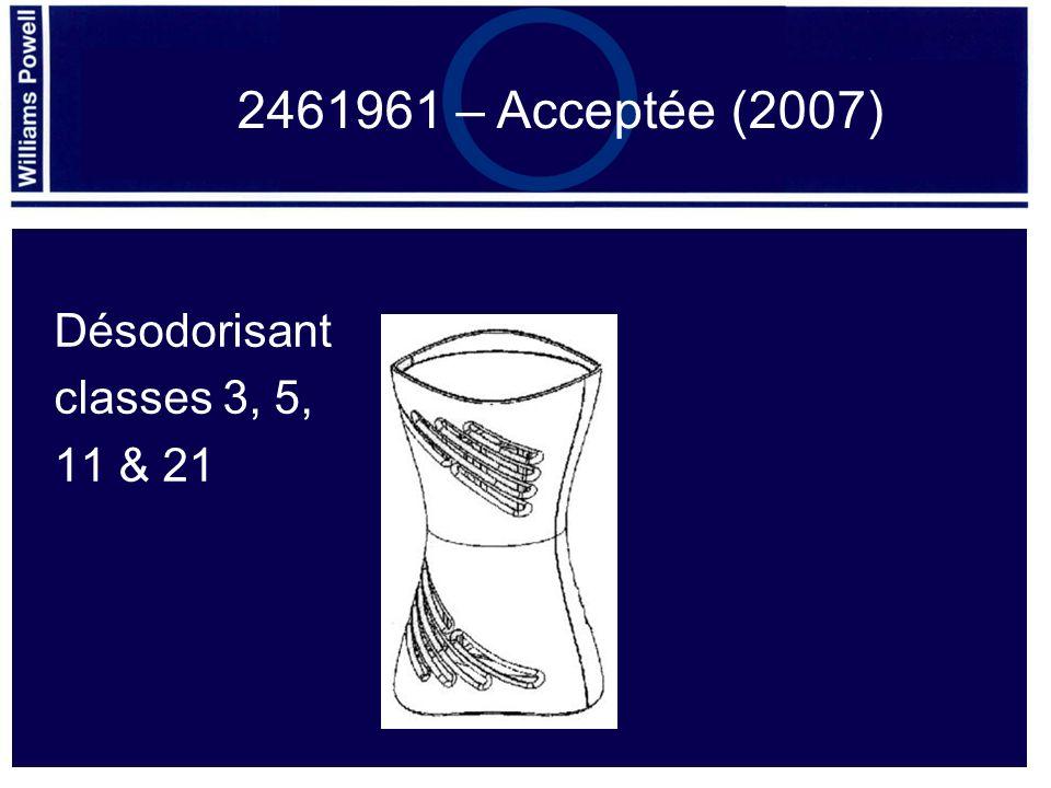 Désodorisant classes 3, 5, 11 & 21 2461961 – Acceptée (2007)