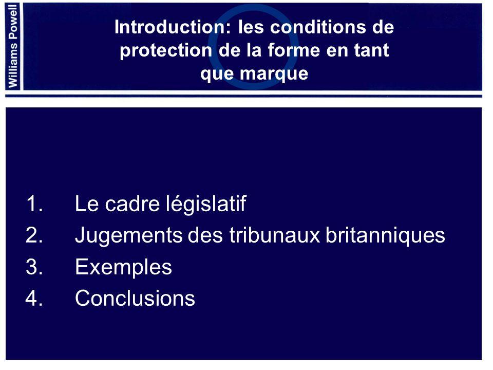 1.Le cadre législatif 2.Jugements des tribunaux britanniques 3.Exemples 4.Conclusions Introduction: les conditions de protection de la forme en tant q