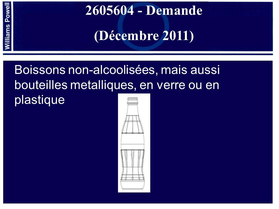 Boissons non-alcoolisées, mais aussi bouteilles metalliques, en verre ou en plastique 2605604 - Demande (Décembre 2011)