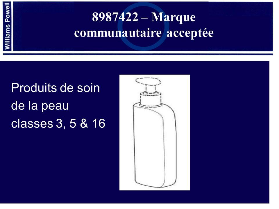 Produits de soin de la peau classes 3, 5 & 16 8987422 – Marque communautaire acceptée