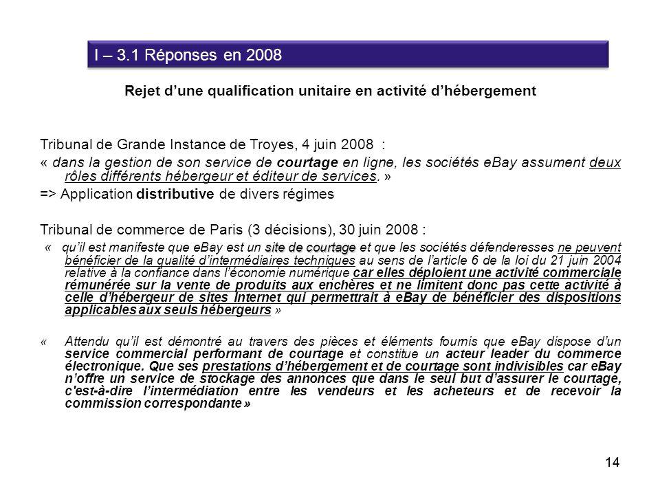 Rejet dune qualification unitaire en activité dhébergement Tribunal de Grande Instance de Troyes, 4 juin 2008 : « dans la gestion de son service de co