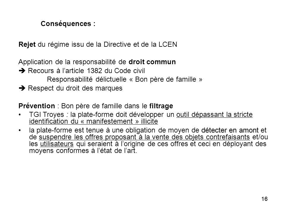 16 Rejet du régime issu de la Directive et de la LCEN Application de la responsabilité de droit commun Recours à larticle 1382 du Code civil Responsab