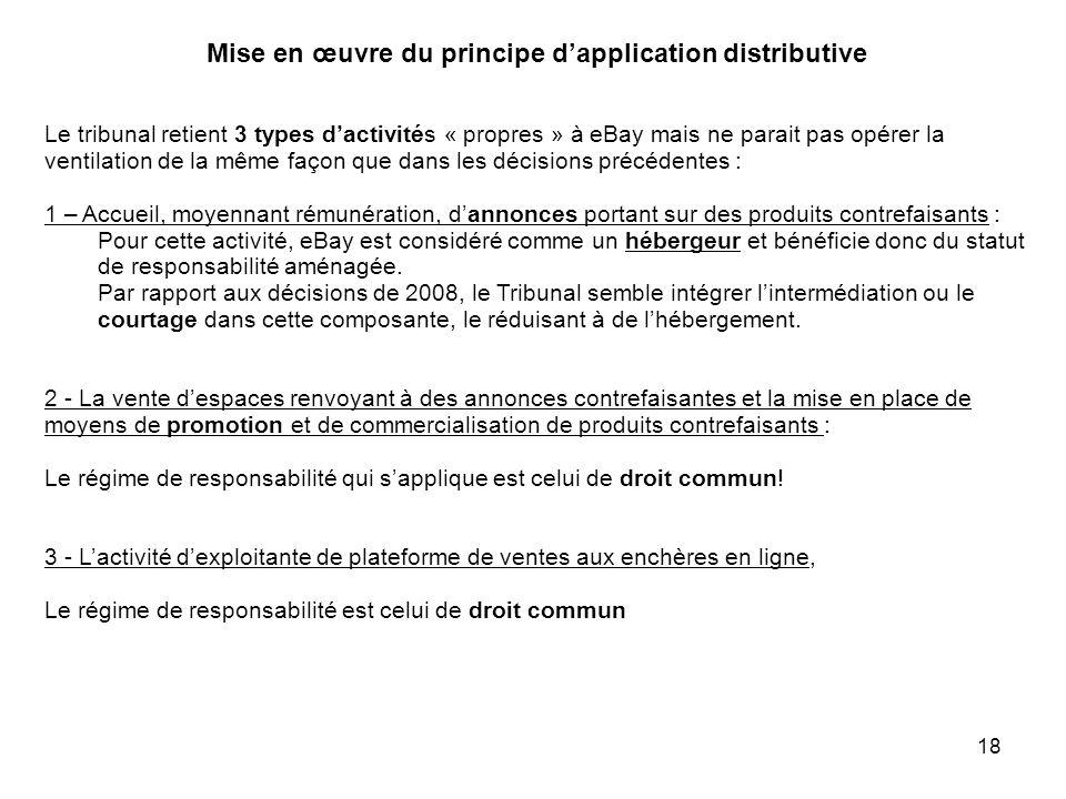 Mise en œuvre du principe dapplication distributive Le tribunal retient 3 types dactivités « propres » à eBay mais ne parait pas opérer la ventilation