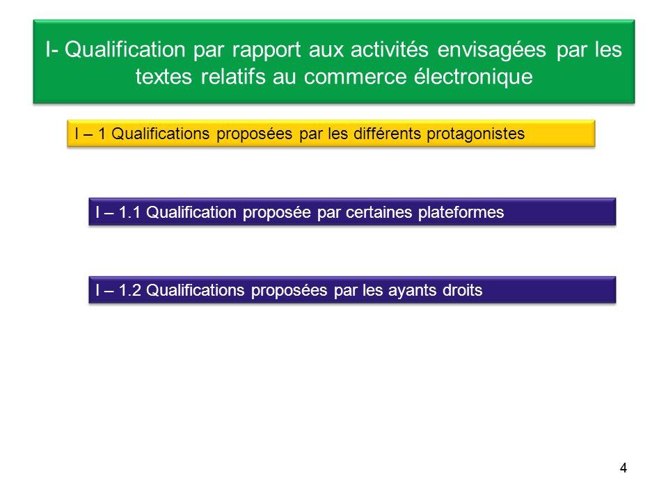 4 I- Qualification par rapport aux activités envisagées par les textes relatifs au commerce électronique I – 1 Qualifications proposées par les différ