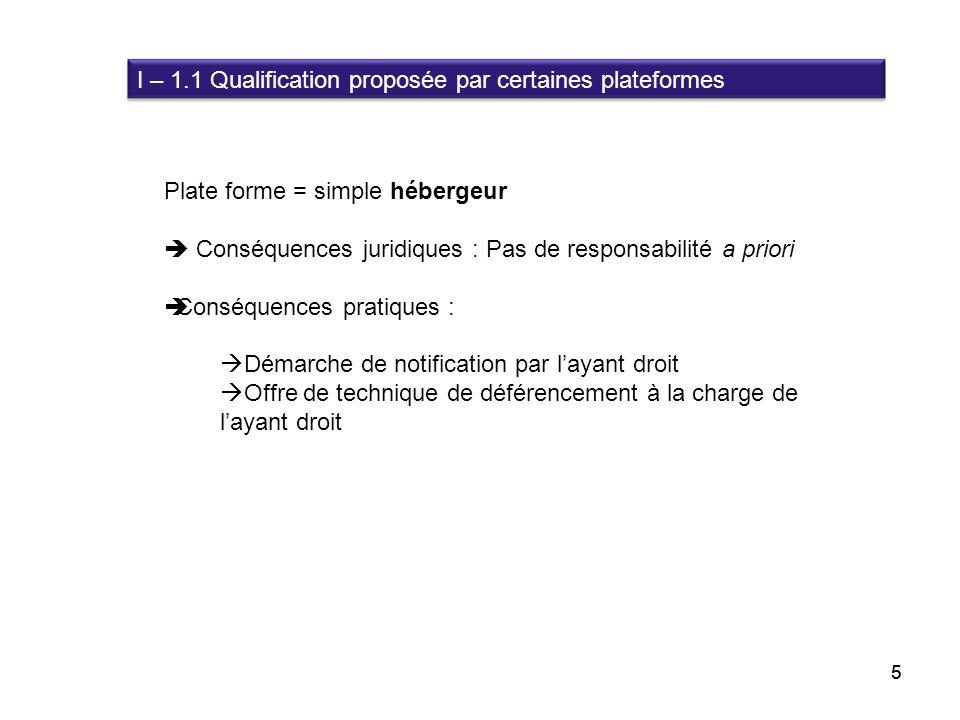 5 Plate forme = simple hébergeur Conséquences juridiques : Pas de responsabilité a priori Conséquences pratiques : Démarche de notification par layant