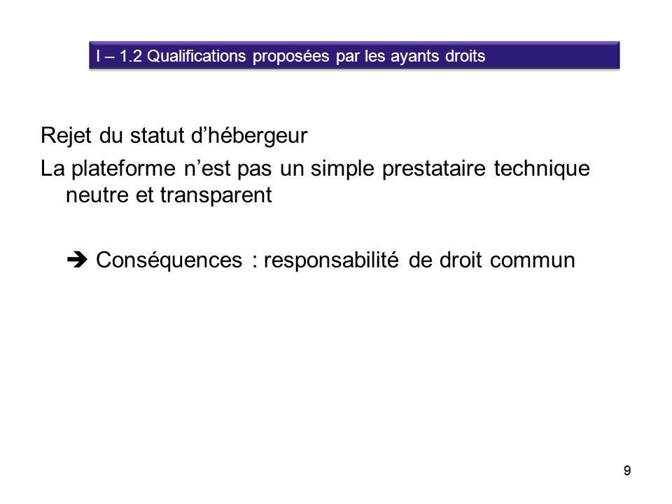 10 I – 2 Réponses des « autorités » à lorigine des normes I – 2.1 Réponse écrite de la Commission Européenne I – 2.2 Rapport Parlementaire français 10