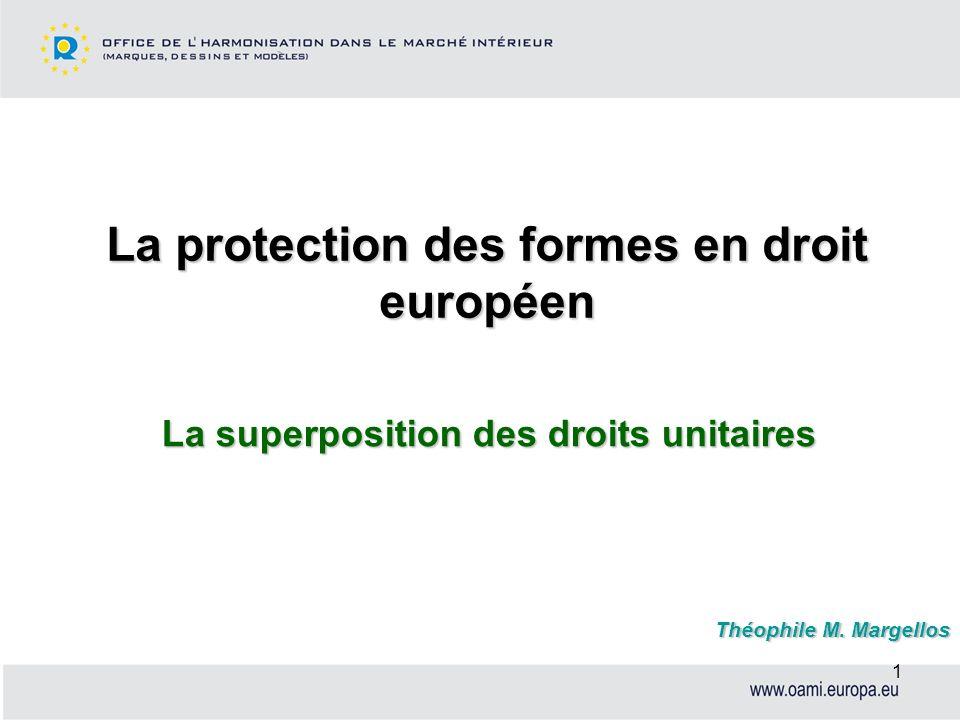 1 La protection des formes en droit européen La superposition des droits unitaires Théophile M. Margellos