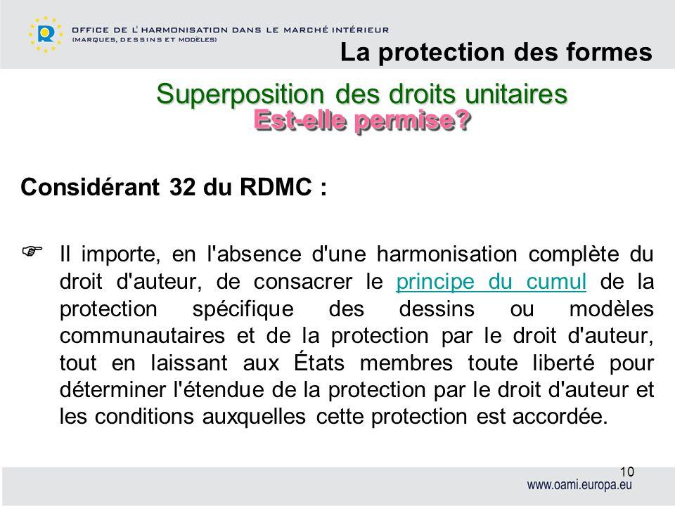 Superposition des droits unitaires La protection des formes 10 Considérant 32 du RDMC : Il importe, en l'absence d'une harmonisation complète du droit