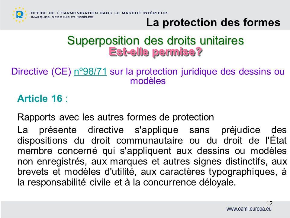 Superposition des droits unitaires La protection des formes 12 Article 16 : Rapports avec les autres formes de protection La présente directive s'appl