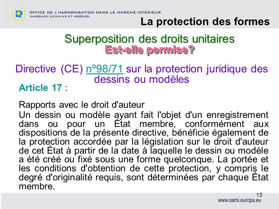 Superposition des droits unitaires La protection des formes 13 Article 17 : Rapports avec le droit d'auteur Un dessin ou modèle ayant fait l'objet d'u