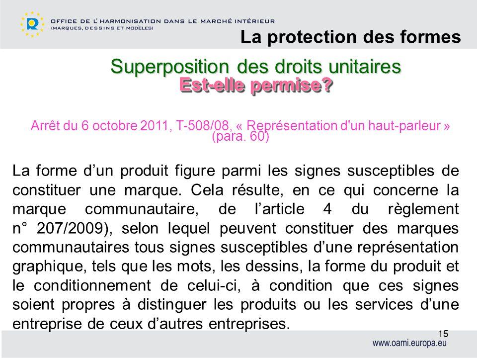 Superposition des droits unitaires La protection des formes 15 La forme dun produit figure parmi les signes susceptibles de constituer une marque. Cel