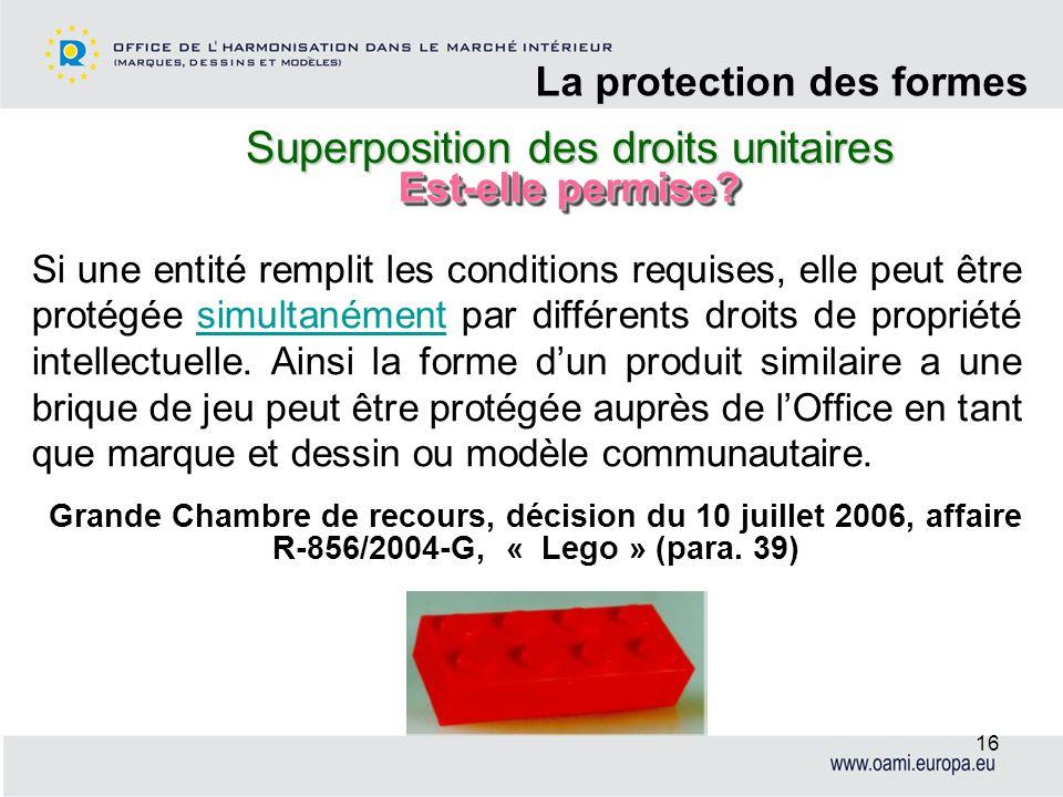 Superposition des droits unitaires La protection des formes 16 Si une entité remplit les conditions requises, elle peut être protégée simultanément pa
