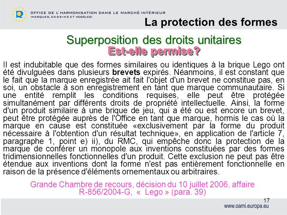 Superposition des droits unitaires La protection des formes 17 Il est indubitable que des formes similaires ou identiques à la brique Lego ont été div