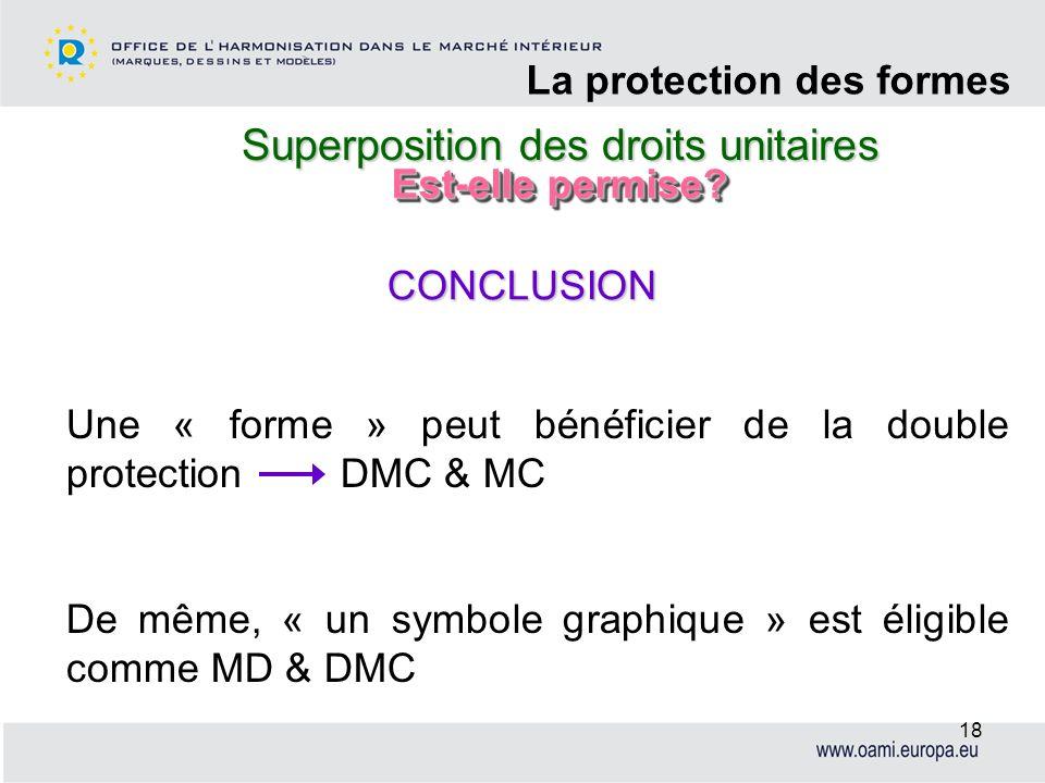 Superposition des droits unitaires La protection des formes 18 Une « forme » peut bénéficier de la double protection DMC & MC De même, « un symbole gr
