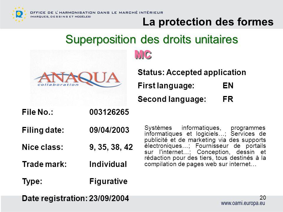 Superposition des droits unitaires La protection des formes 20 File No.: 003126265 Filing date: 09/04/2003 Nice class: 9, 35, 38, 42 Trade mark: Indiv