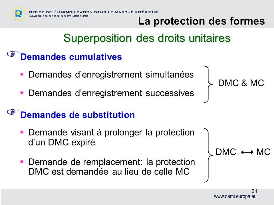 Superposition des droits unitaires La protection des formes 21 Demandes cumulatives Demandes denregistrement simultanées DMC & MC Demandes denregistre