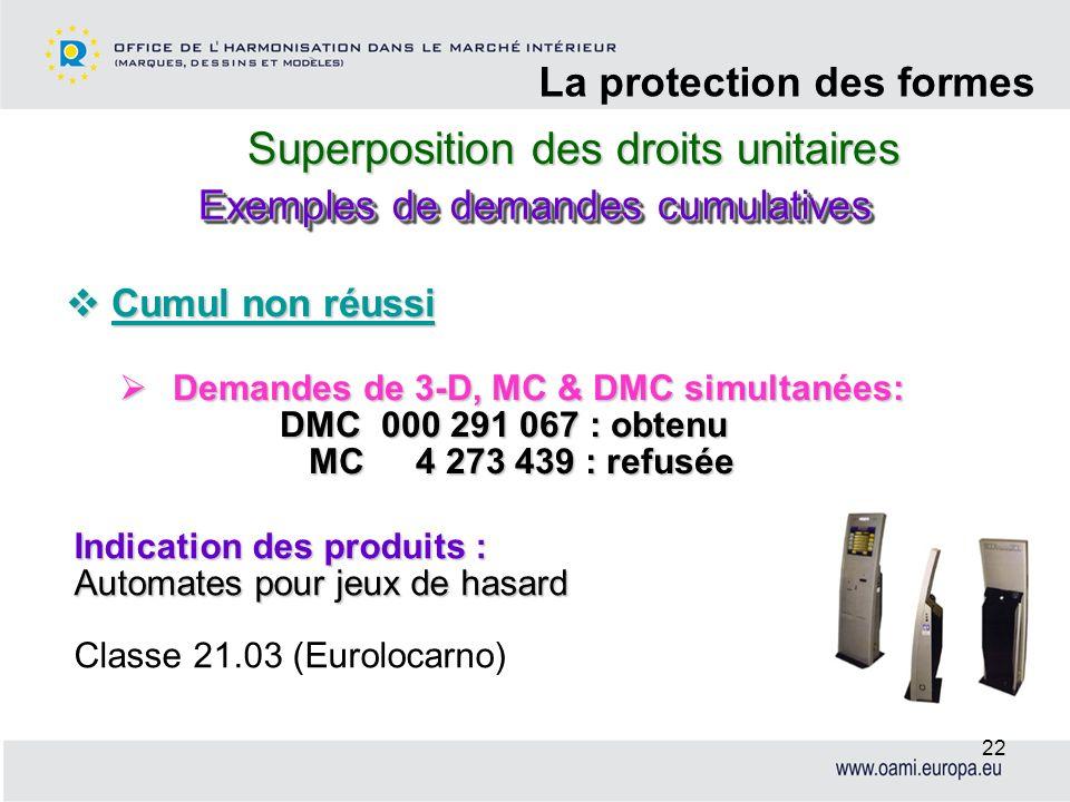 Superposition des droits unitaires La protection des formes 22 Cumul non réussi Cumul non réussi Demandes de 3-D, MC & DMC simultanées: Demandes de 3-