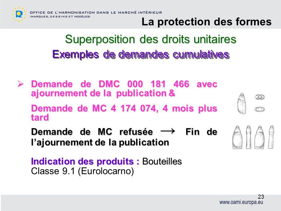 Superposition des droits unitaires La protection des formes 23 Demande de DMC 000 181 466 avec ajournement de la publication & Demande de DMC 000 181
