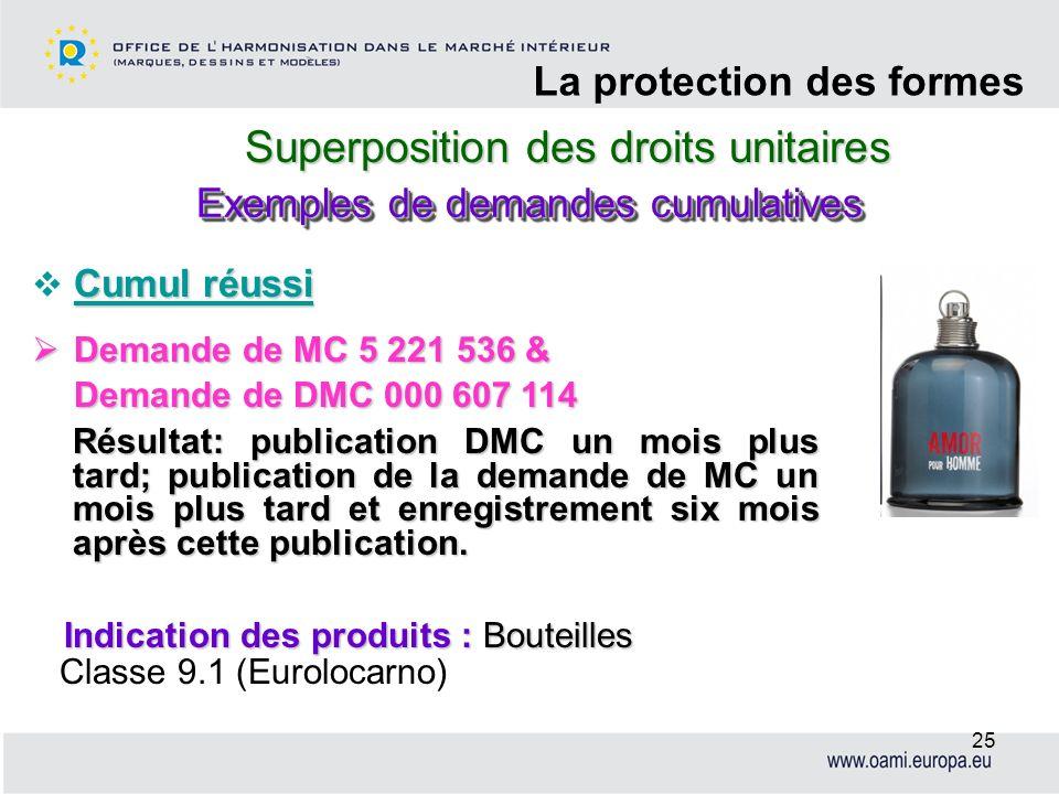 Superposition des droits unitaires La protection des formes 25 Cumul réussi Demande de MC 5 221 536 & Demande de MC 5 221 536 & Demande de DMC 000 607