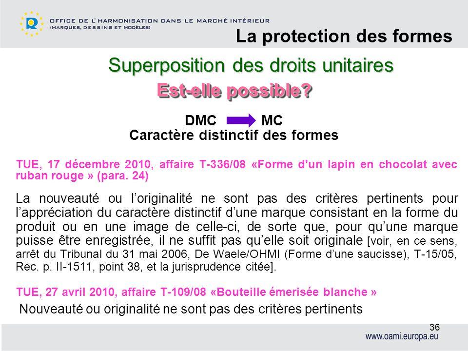 Superposition des droits unitaires La protection des formes 36 TUE, 17 décembre 2010, affaire T-336/08 «Forme d'un lapin en chocolat avec ruban rouge