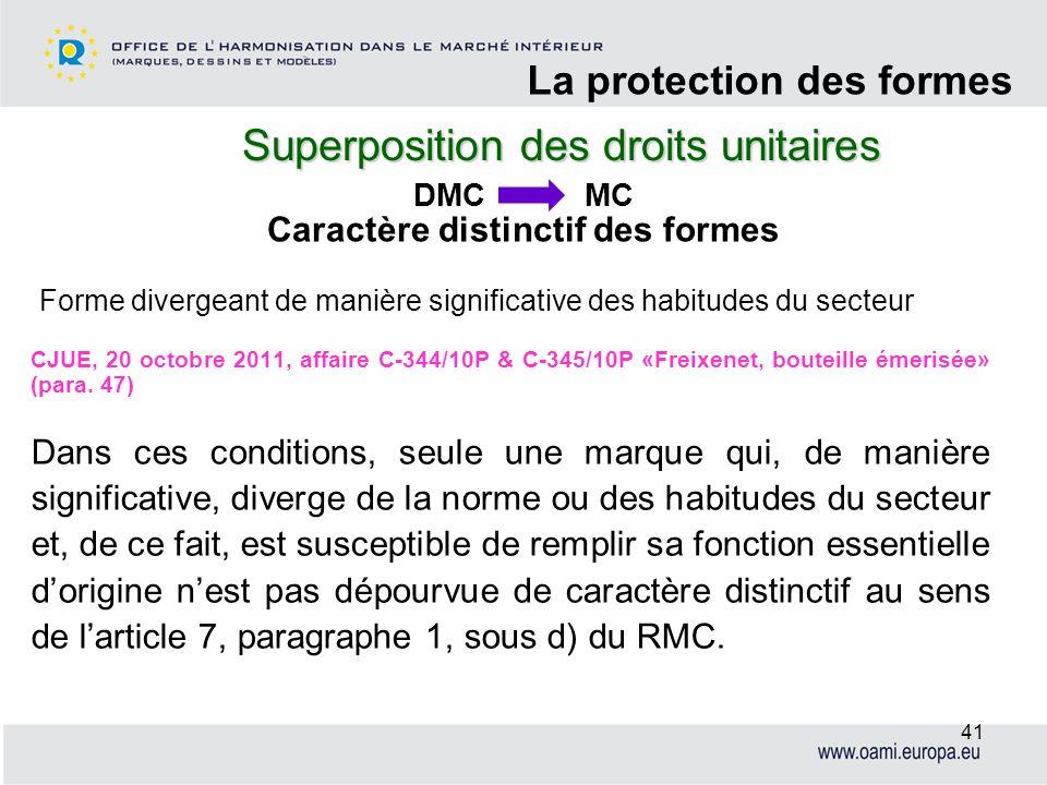 Superposition des droits unitaires La protection des formes 41 CJUE, 20 octobre 2011, affaire C-344/10P & C-345/10P «Freixenet, bouteille émerisée» (p